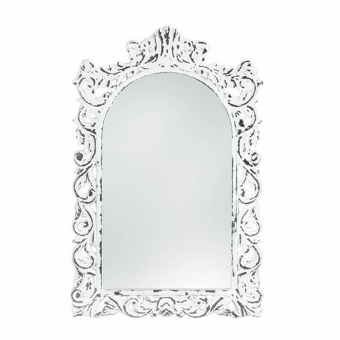 Distressed White Ornate Wall Mirror - F. W. Woolworth Co. Online Store