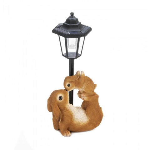 Adorable Mom And Baby Rabbit Solar Lamp