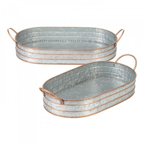 Oblong Galvanized Metal Tray Duo