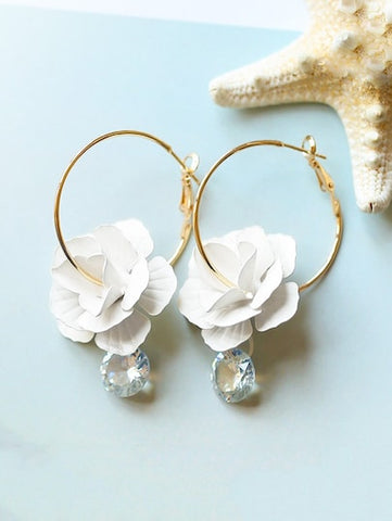Floral & Rhinestone Hoop Earrings
