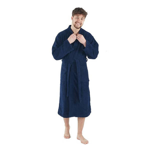 Turkish Cotton Soft Terry Bathrobe - Navy