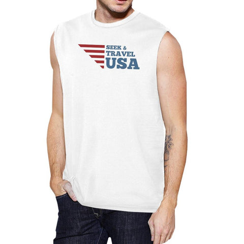 Seek & Travel USA Mens White Sleeveless Tee Shirt Round Neck Cotton