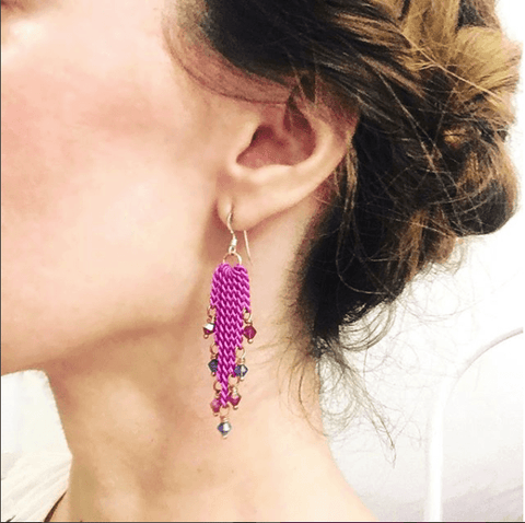 Hot Pink Tassel Chain Crystal Earrings