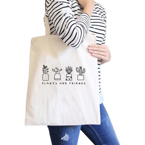Plants Are Friends Natural Canvas Bag Unique Design Gifts For Her - F. W. Woolworth Co. Online Store