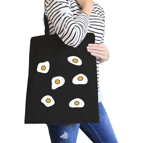 Fried Egg Pattern Black Canvas Bag Gift Idea For BFF Tote Bags - F. W. Woolworth Co. Online Store