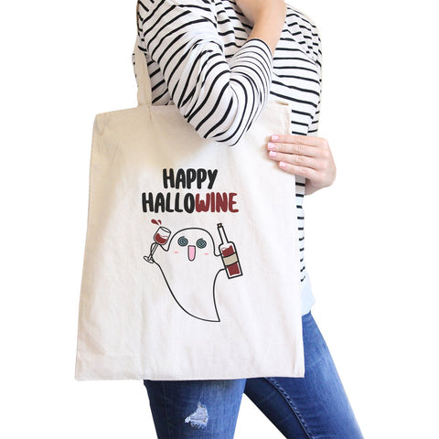 Happy Hallowine Ghost Wine Natural Canvas Bags - F. W. Woolworth Co. Online Store