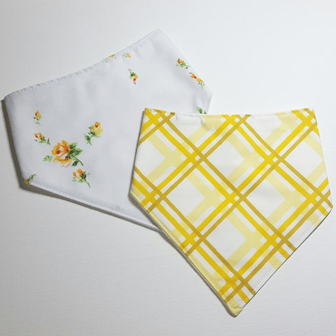 Handmade Vintage Floral & Yellow Plaid Bandana Bibs, Set of 2, Baby Accessories / Baby Shower Gift