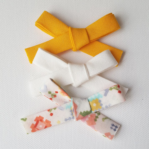 Set of 3 | Handmade Pixelated Floral Hand Tied Bows | Nylon Headband - One Size Fits All | Photo Prop