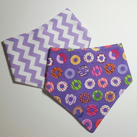 Handmade Purple Chevron & Donuts Bandana Bibs, Set of 2, Baby Accessories / Baby Shower Gift