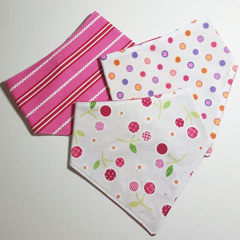 Handmade Pink Stripes, Large Dots & Cherries Bandana Bibs, Set of 3, Baby Accessories / Baby Shower Gift