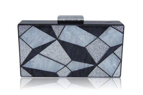 Black 3D Geometric Acrylic Box Clutch-Milanblocks - F. W. Woolworth Co. Online Store