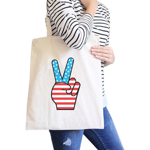 Peace American Flag Design Eco Bag Cute Peace Sign Canvas Tote Bag - F. W. Woolworth Co. Online Store