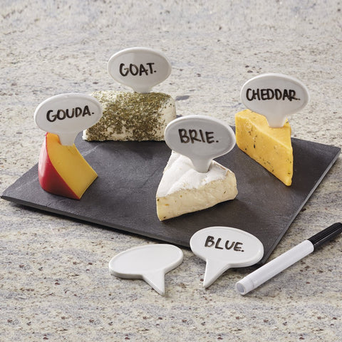 Porcelain Cheese Markers and Slate Board Set