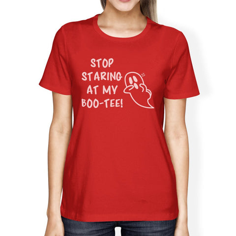 Stop Staring At My Boo-Tee Ghost Womens Red Shirt - F. W. Woolworth Co. Online Store