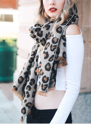 Camel Leopard Print Blanket Scarf - F. W. Woolworth Co. Online Store