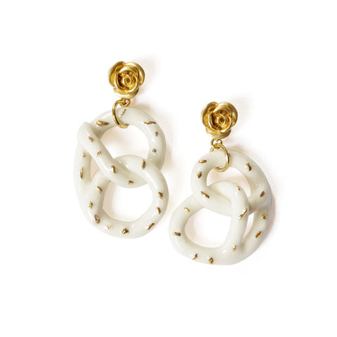 Golden Rose And Salted Porcelain Pretzel Earrings - F. W. Woolworth Co. Online Store