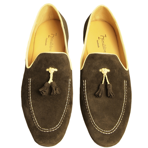 Suede Loafers in Calf Leather Trimming Brown - F. W. Woolworth Co. Online Store
