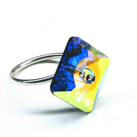 Sterling Silver Super Sparkly Swarovski Crystal Shank Button Ring - F. W. Woolworth Co. Online Store