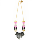 Adorn Spike Necklace - pink, black and white with black spikes