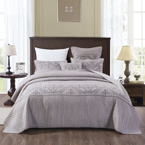 Elegant Fair Isle Purple Grey Yarn Dyed Quilted Coverlet Bedspread Set (JHW866)