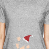 Baby Santa Foot And Handprints Womens Grey Shirt