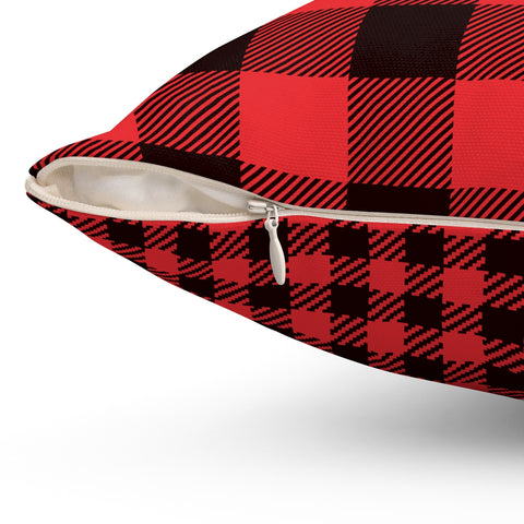 Double Sided Red Plaid Square Pillow Case