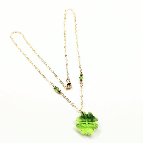 14K Gold Filled Light Green Crystal Clover Necklace