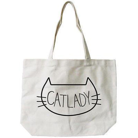 Women's Cat Lady Natural Canvas Tote Bag- 100% Cotton 18.5x14.25 inches - F. W. Woolworth Co. Online Store