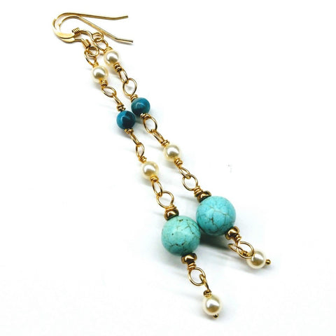 Long 14 K Gold Filled Turquoise Pearl Earrings