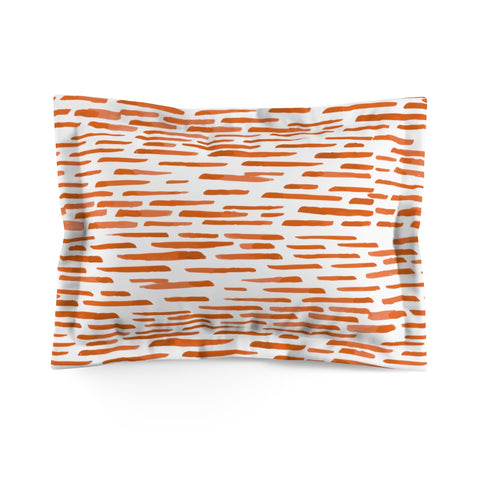 Red-Orange Stripes Microfiber Pillow Sham