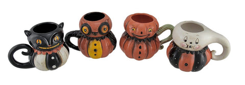 Pumpkin Peeps 4 Piece Set of Vintage Style Halloween Ceramic Mugs - F. W. Woolworth Co. Online Store
