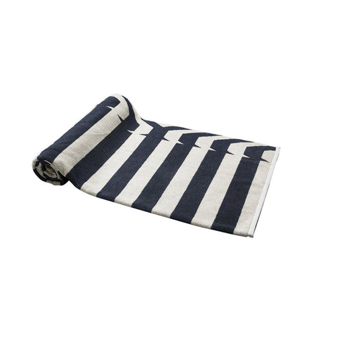 Gray Nautical Stripes Beach Towel