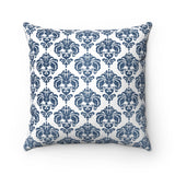 Blue Damask Spun Polyester Square Pillow Case - F. W. Woolworth Co. Online Store