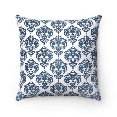 Blue Damask Spun Polyester Square Pillow Case