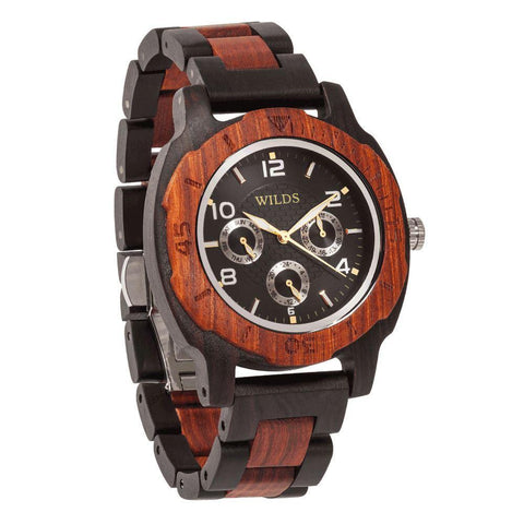Men's Multi-Function Custom Rose Ebony Wooden Watch