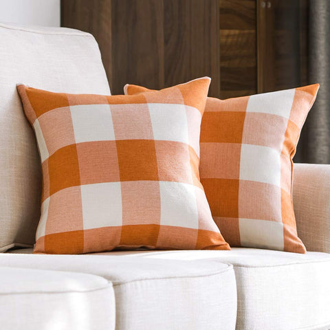 Orange Plaid Pillow Case 18 x 18 | Set of 2 - F. W. Woolworth Co. Online Store