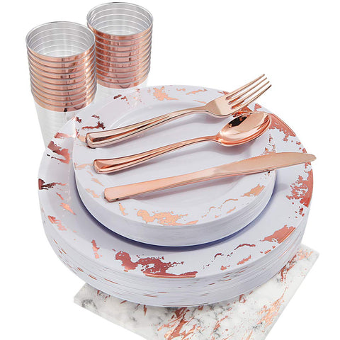 Marbled Rose Gold Reusable Plastic Plates and Silverware Set | Serves 25 - F. W. Woolworth Co. Online Store