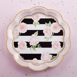 Floral Striped Paper Party Plates, 9 Inch (4 Set of 8, 32 pcs) - F. W. Woolworth Co. Online Store