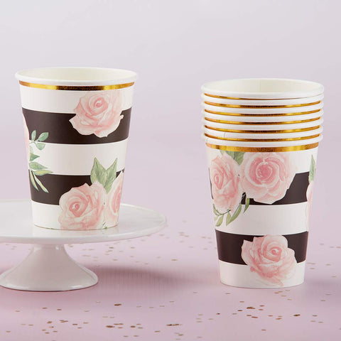 Floral Print Black & White Striped Paper Cups | Set of 8 - F. W. Woolworth Co. Online Store