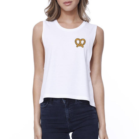Pretzel Printed Women's White Crop Top - F. W. Woolworth Co. Online Store