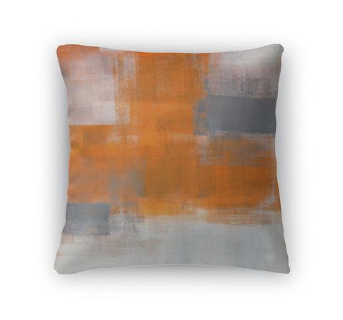 Throw Pillow, Soft Comfortable Fabric, 18x18, Grey And Orange Abstract Art