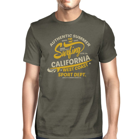 Authentic Summer Surfing California Mens Dark Grey Shirt - F. W. Woolworth Co. Online Store