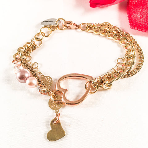 Rose Gold Heart Charm Bracelet With Rose Pearls