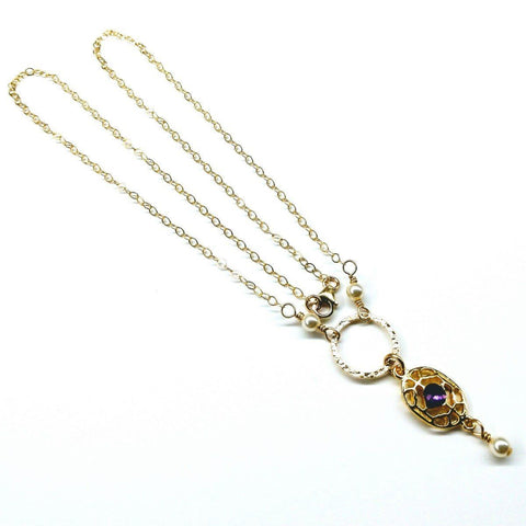 14 KT Gold Filled Hammered Circle Purple Crystal Filigree Pearl Necklace