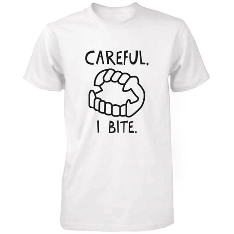 Careful I Bite Funny Men's T-shirt White Crewneck Graphic shirt for Halloween - F. W. Woolworth Co. Online Store
