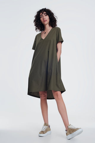 Poplin Khaki Shiny Dress With v Neck