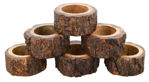 Handcrafted Rustic Wooden Napkin Rings Set of 6