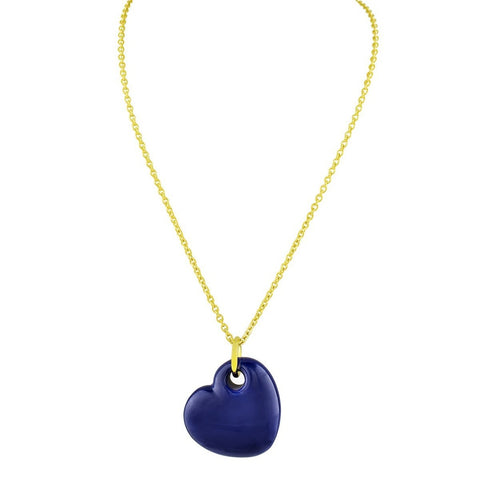 18k Gold Plated Blue Enamel Puffy Heart Necklace, 15 Inches - F. W. Woolworth Co. Online Store