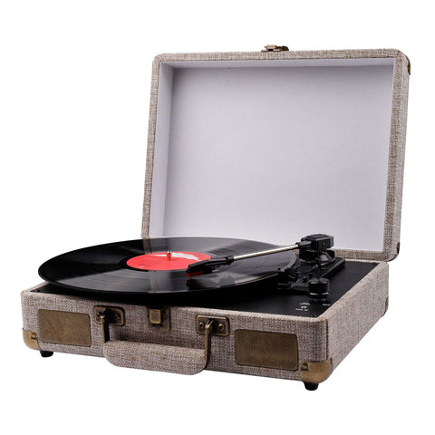 Portable Suitcase Turntable for Vinyl Records, Belt-Drive 3-Speed