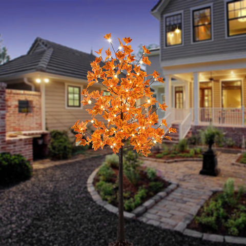 LED Lighted Orange Maple Tree - Dotted with 120 Warm White LED Lights, 5.5 ft - F. W. Woolworth Co. Online Store